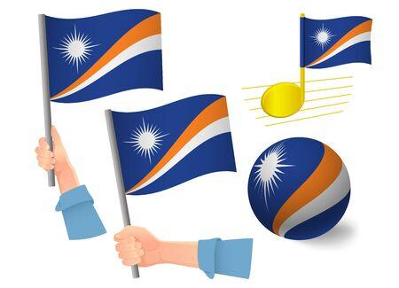 Marshall Islands flag icon set. National flag of Marshall Islands vector illustration