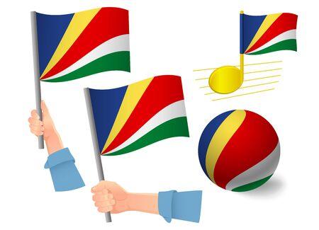 Seychelles flag icon set. National flag of Seychelles vector illustration