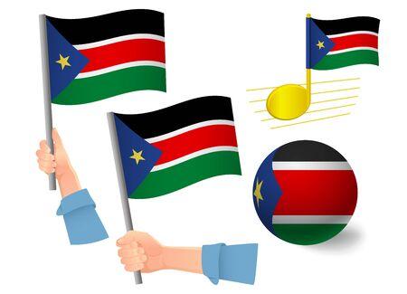 South Sudan flag icon set. National flag of South Sudan vector illustration