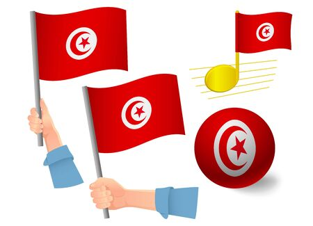 Tunisia flag icon set. National flag of Tunisia vector illustration Banque d'images - 130839101