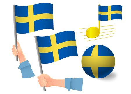 Sweden flag icon set. National flag of Sweden vector illustration Ilustração