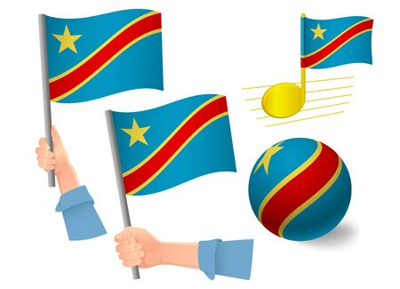Democratic Republic of the Congo flag icon set. National flag of Democratic Republic of the Congo vector illustration Standard-Bild - 130839239