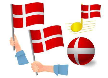 Denmark flag icon set. National flag of Denmark vector illustration