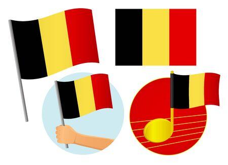 Belgium flag icon set. National flag of Belgium vector illustration