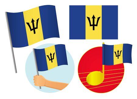 Barbados flag icon set. National flag of Barbados vector illustration