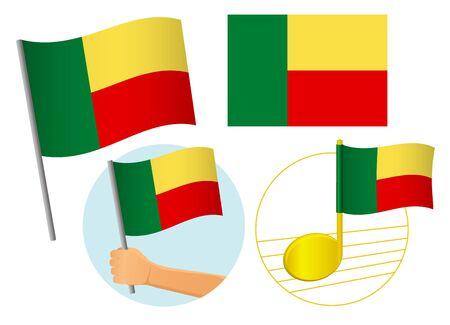 Benin flag icon set. National flag of Benin vector illustration