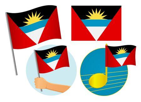 Antigua and Barbuda flag icon set. National flag of Antigua and Barbuda vector illustration