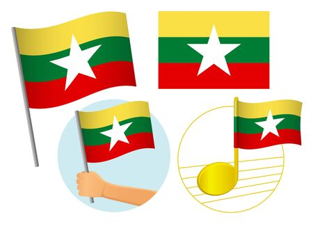 Burma flag icon set. National flag of Burma vector illustration