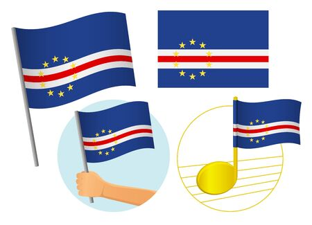Cape Verde flag icon set. National flag of Cape Verde vector illustration