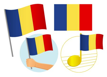 Chad flag icon set. National flag of Chad vector illustration Иллюстрация