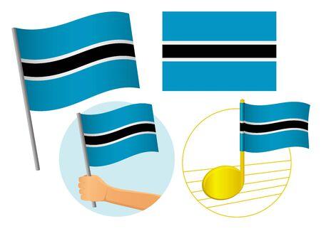 Botswana flag icon set. National flag of Botswana vector illustration Иллюстрация