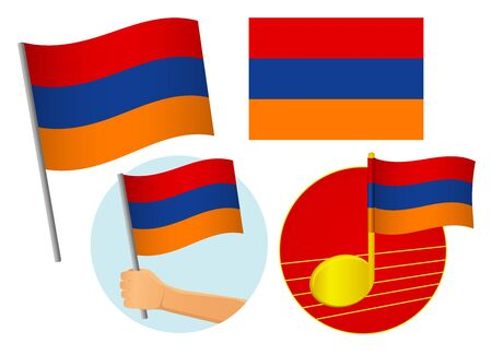 Armenia flag icon set. National flag of Armenia vector illustration