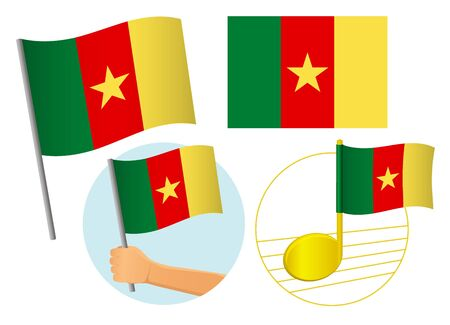 Cameroon flag icon set. National flag of Cameroon vector illustration
