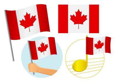 Canada flag icon set. National flag of Canada vector illustration Иллюстрация