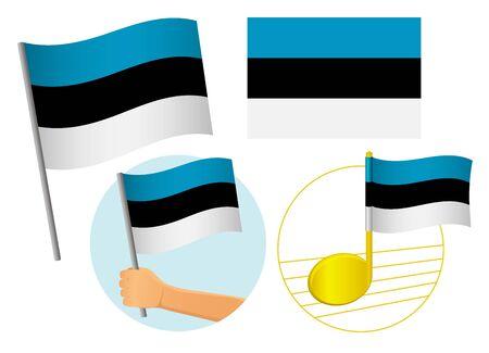 Estonia flag icon set. National flag of Estonia vector illustration