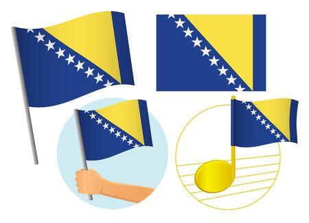 Bosnia and Herzegovina flag icon set. National flag of Bosnia and Herzegovina vector illustration