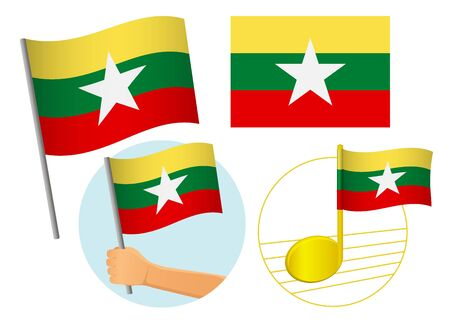 Myanmar flag icon set. National flag of Myanmar vector illustration