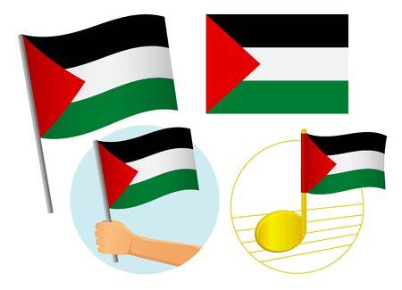 Palestine flag icon set. National flag of Palestine vector illustration