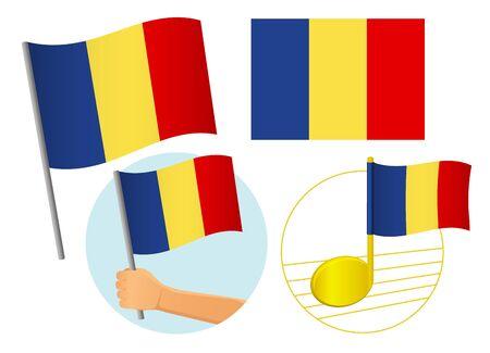 Romania flag icon set. National flag of Romania vector illustration
