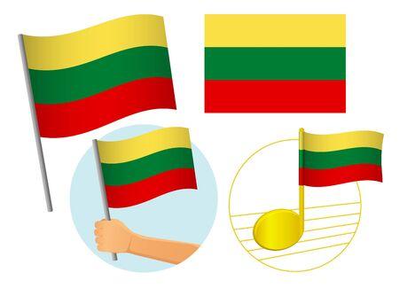 lithuania flag icon set. National flag of lithuania vector illustration