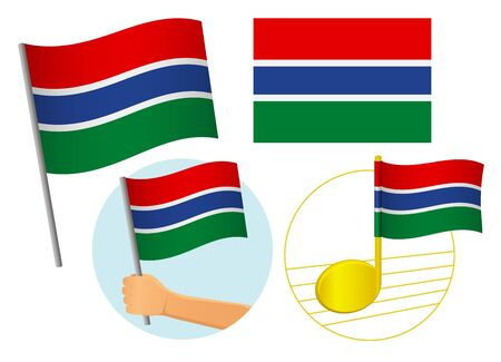Gambia flag icon set. National flag of Gambia vector illustration Иллюстрация