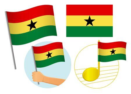 Ghana flag icon set. National flag of Ghana vector illustration Иллюстрация