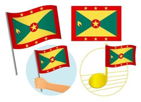 Grenada flag icon set. National flag of Grenada vector illustration Фото со стока - 131810689