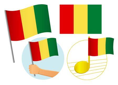 Guinea flag icon set. National flag of Guinea vector illustration