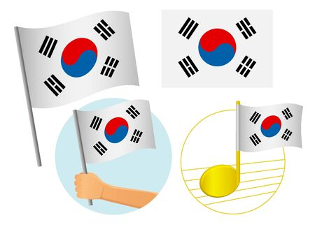 South korea flag icon set. National flag of South korea vector illustration Çizim