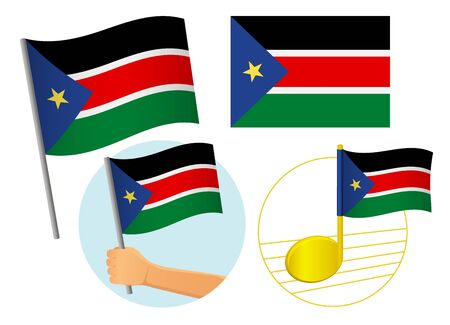 South Sudan flag icon set. National flag of South Sudan vector illustration Фото со стока - 131810690