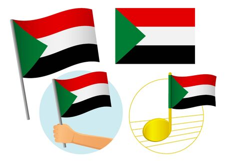 Sudan flag icon set. National flag of Sudan vector illustration