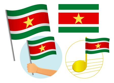 Suriname flag icon set. National flag of Suriname vector illustration