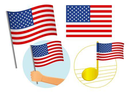 United States of America flag icon set. National flag of United States of America vector illustration