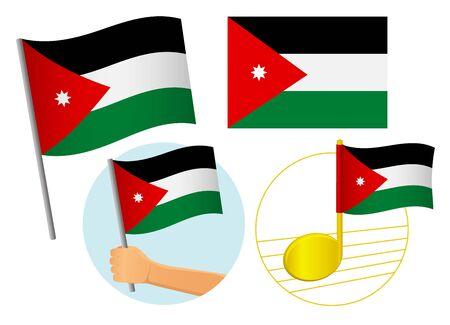 jordan flag icon set. National flag of Jordan vector illustration