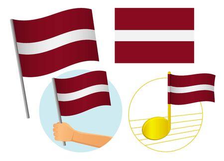 latvia flag icon set. National flag of latvia vector illustration