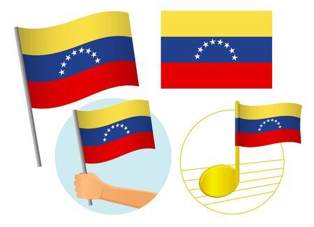 Venezuela flag icon set. National flag of Venezuela vector illustration Иллюстрация