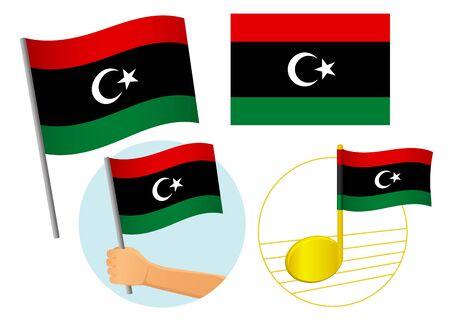 libya flag icon set. National flag of libya vector illustration Фото со стока - 131828957
