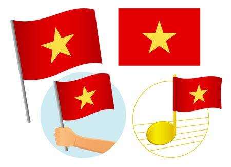 Vietnam flag icon set. National flag of Vietnam vector illustration