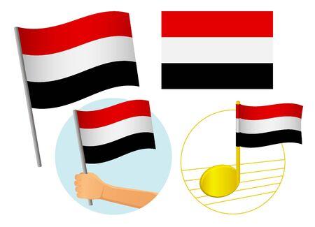 Yemen flag icon set. National flag of Yemen vector illustration