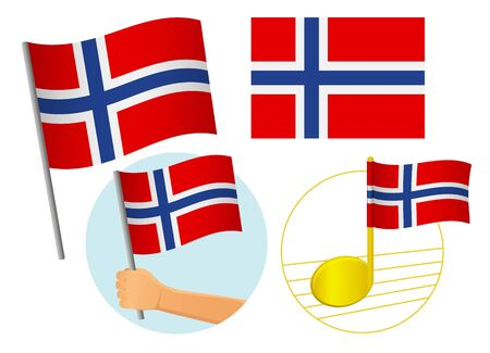 Norway flag icon set. National flag of Norway vector illustration