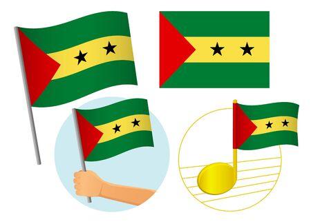 Sao Tome and Principe flag icon set. National flag of Sao Tome and Principe vector illustration Ilustração