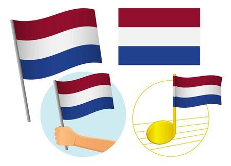 Insieme dell'icona della bandiera olandese. Bandiera nazionale dei Paesi Bassi illustrazione vettoriale