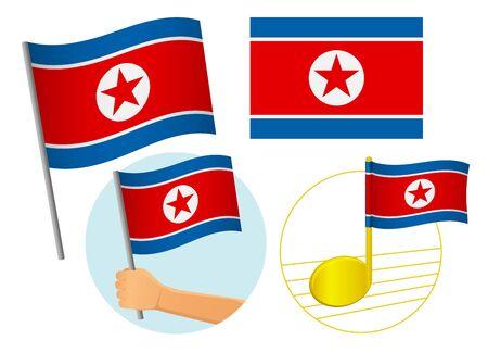 North Korea flag icon set. National flag of North Korea vector illustration