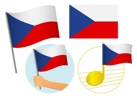 Czech Republic flag icon set. National flag of Czech Republic vector illustration Фото со стока - 131828967
