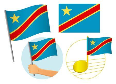 Democratic Republic of the Congo flag icon set. National flag of Democratic Republic of the Congo vector illustration Иллюстрация