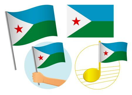 Djibouti flag icon set. National flag of Djibouti vector illustration Иллюстрация