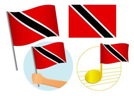 Trinidad and Tobago flag icon set. National flag of Trinidad and Tobago vector illustration