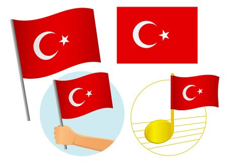 Turkey flag icon set. National flag of Turkey vector illustration Фото со стока - 131828994