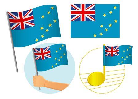 Tuvalu flag icon set. National flag of Tuvalu vector illustration