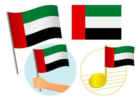 United arab emirates flag icon set. National flag of United arab vector illustration